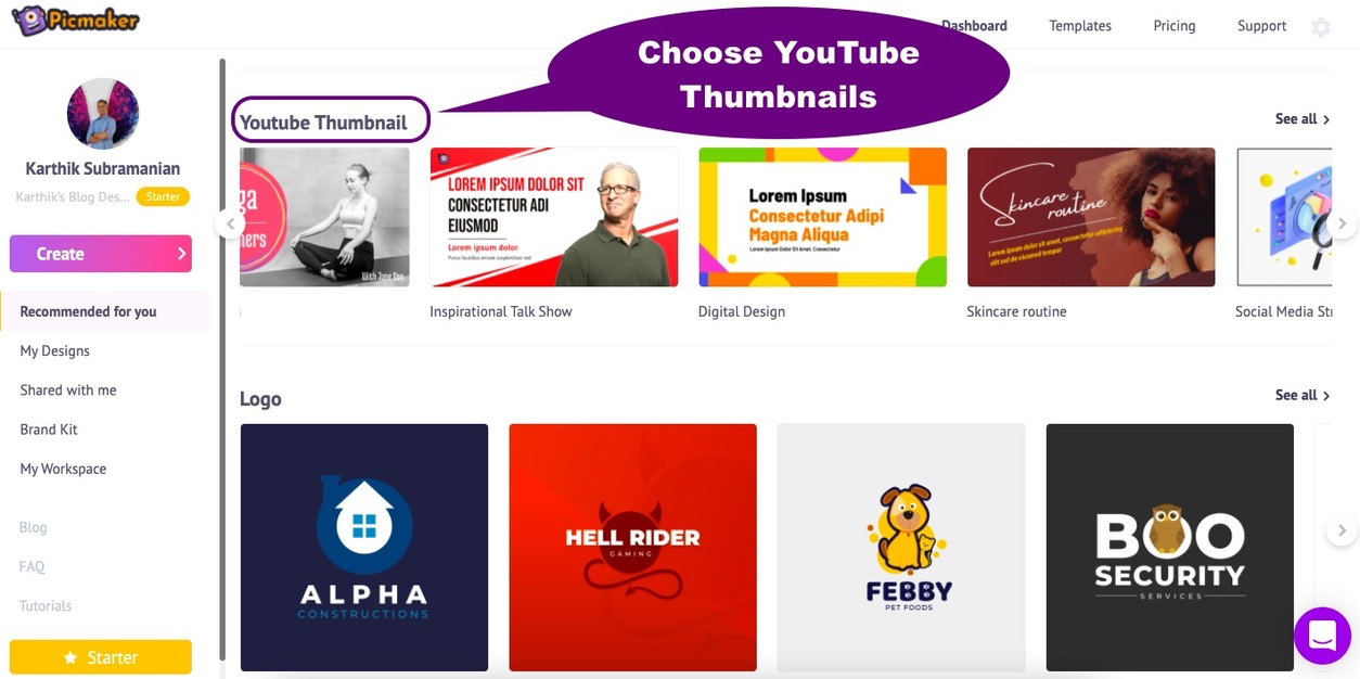 Choose a YouTube thumbnail template