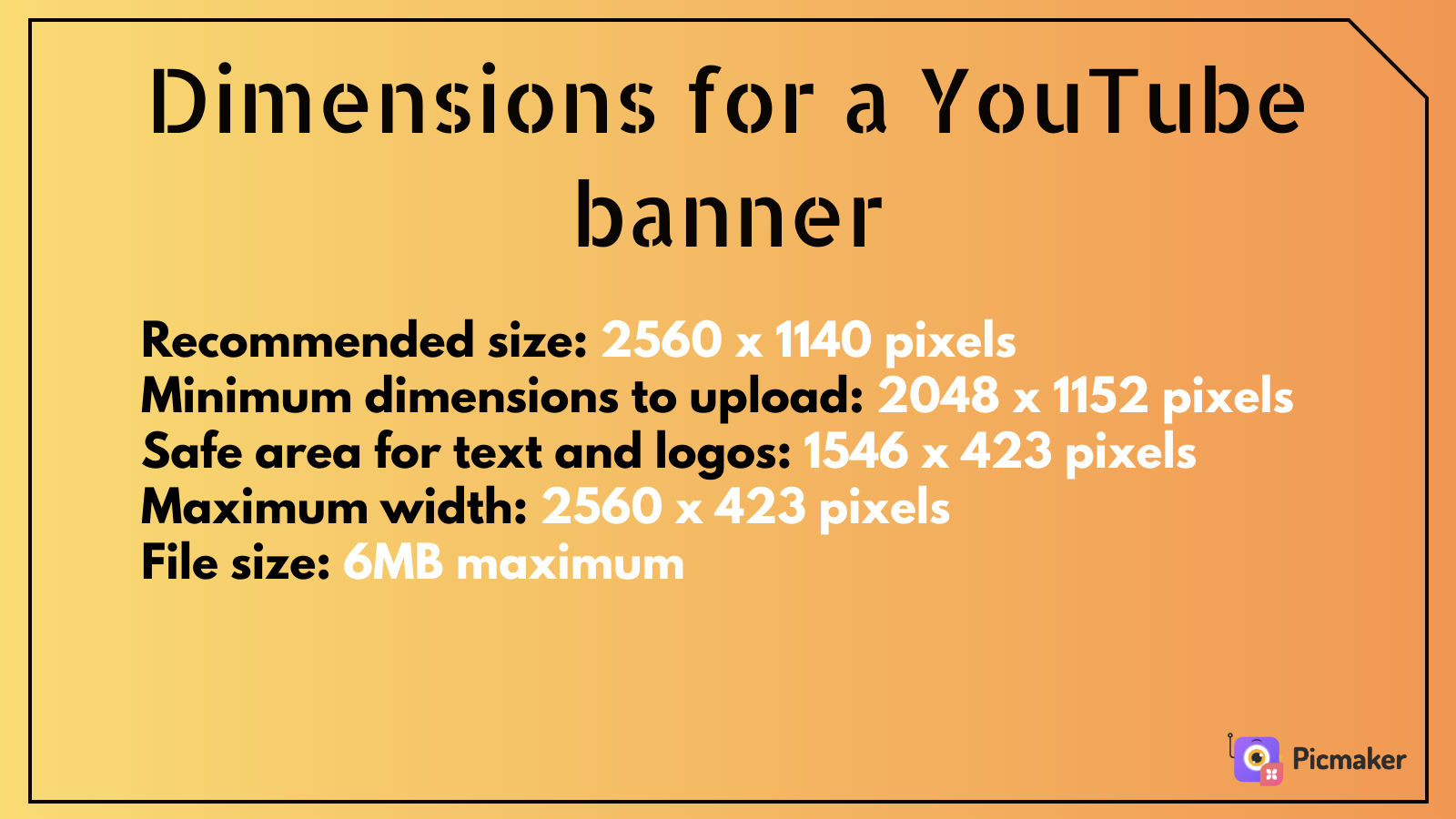 Average size of a YouTube banner - Picmaker