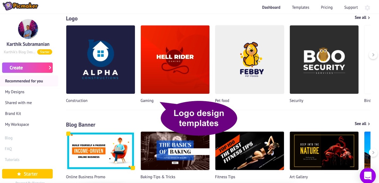 Log in to Picmaker to make a logo for your brand or business