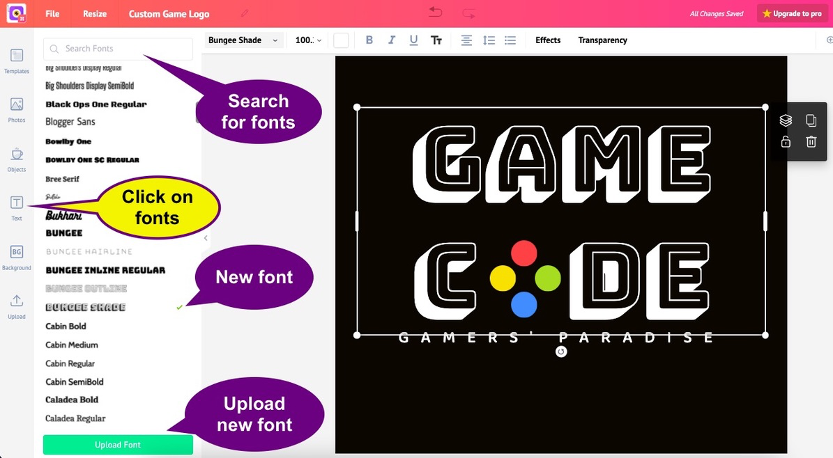 gaming logo maker. Change the font easily.