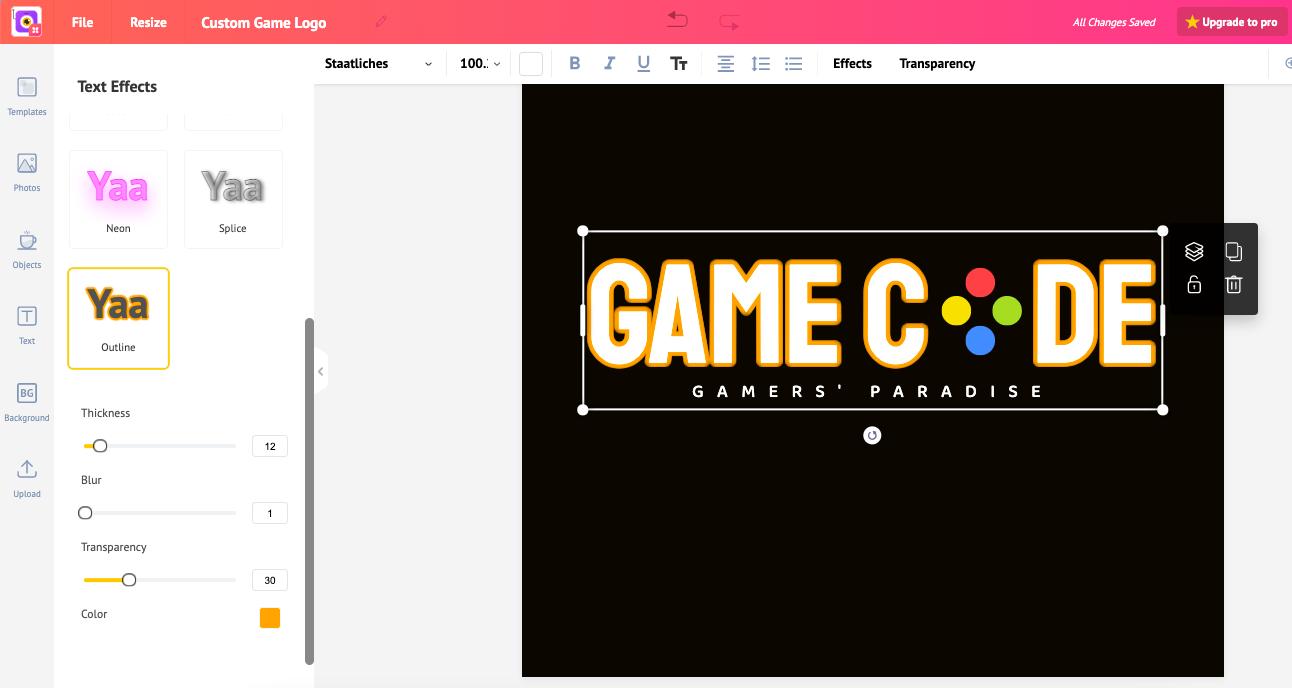 Hot to make a game logo, add text effects in Picmaker