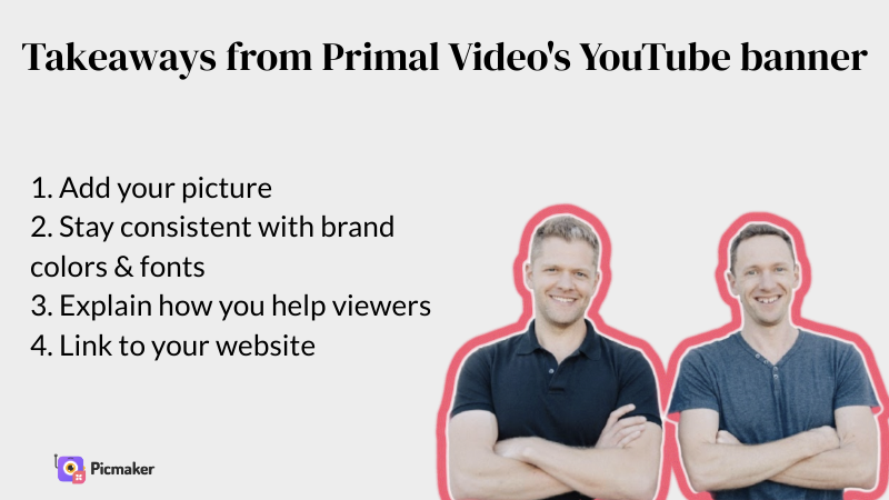 Justin Brown's YouTube channel art example takeaways
