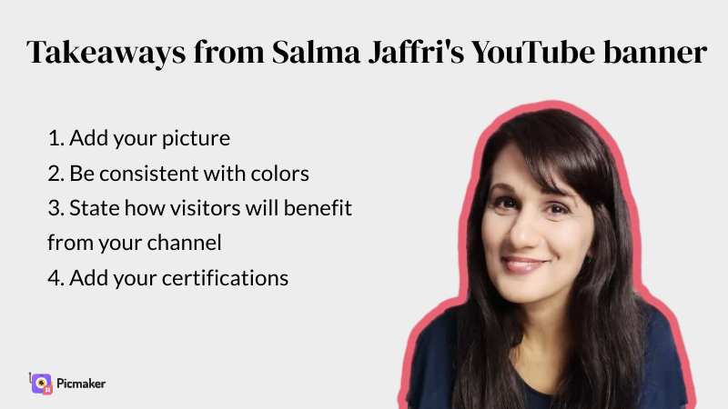 Salma Jaffri's YouTube banner example takeaways