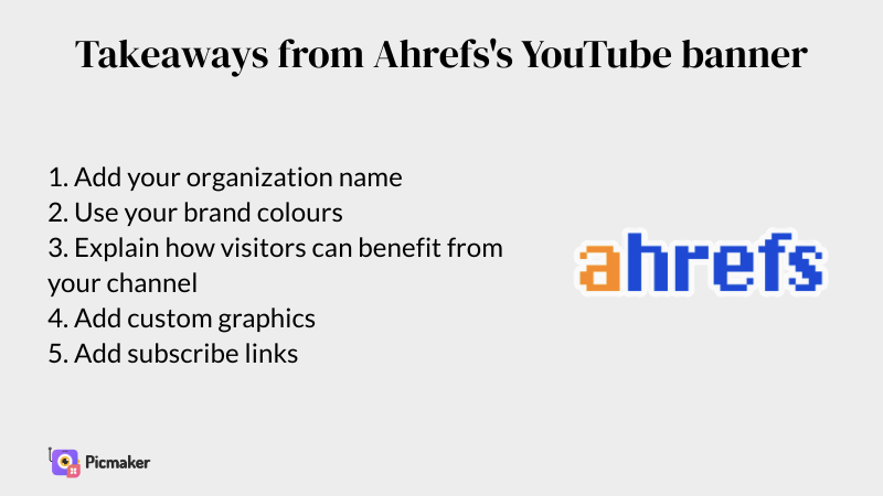 Ahrefs YouTube banner example takeaways