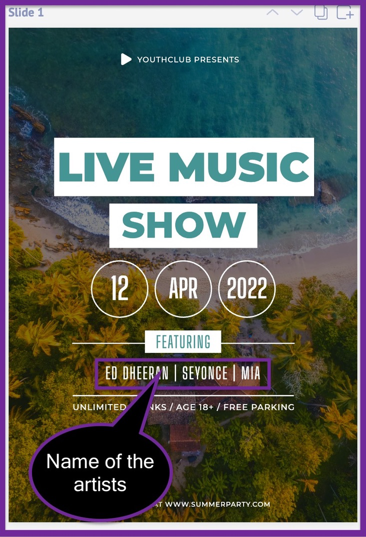 Screenshot of the advertising flyer after adding our assumed name of artists.