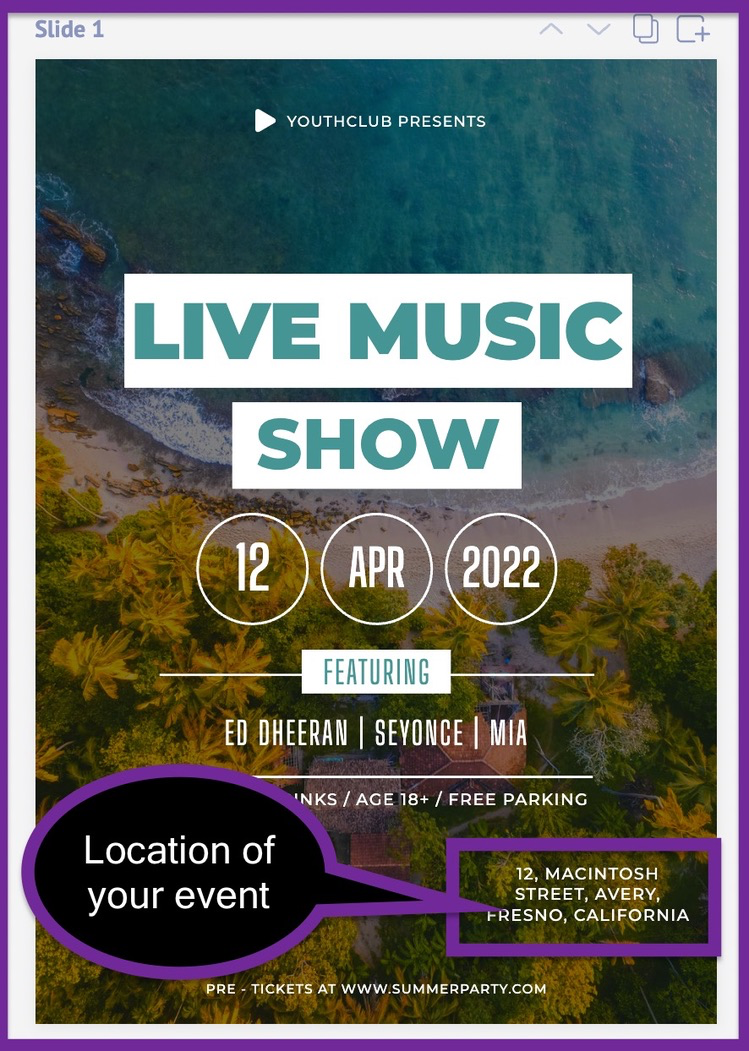 Screenshot of the advertising flyer after adding our assumed location of event.