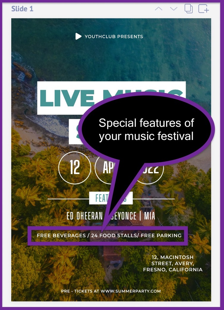 Screenshot of the advertising flyer after adding our assumed benefits of the music festival.