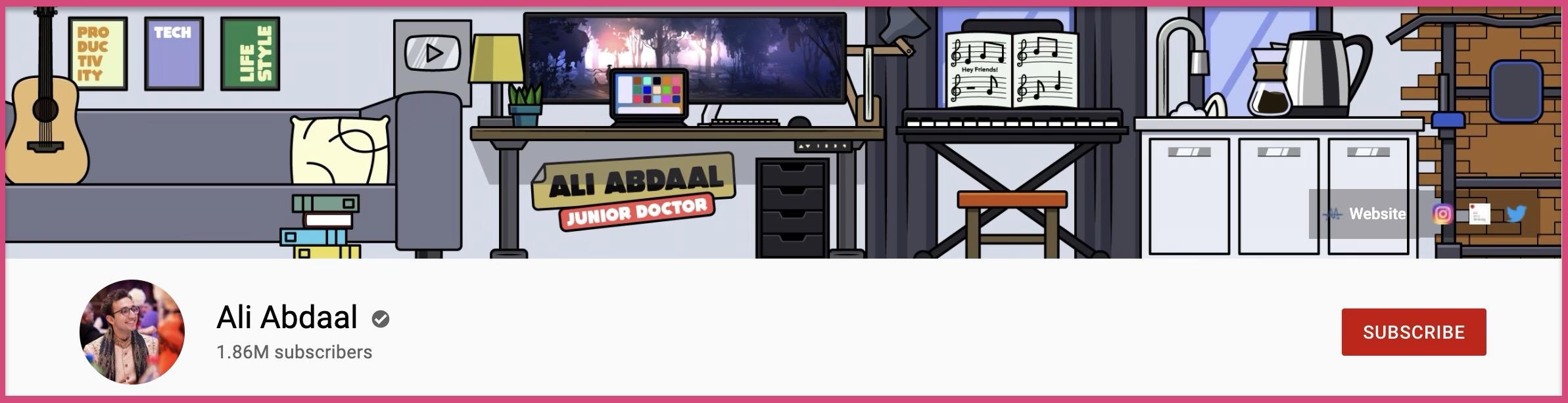 Ali Abdaal's YouTube channel art