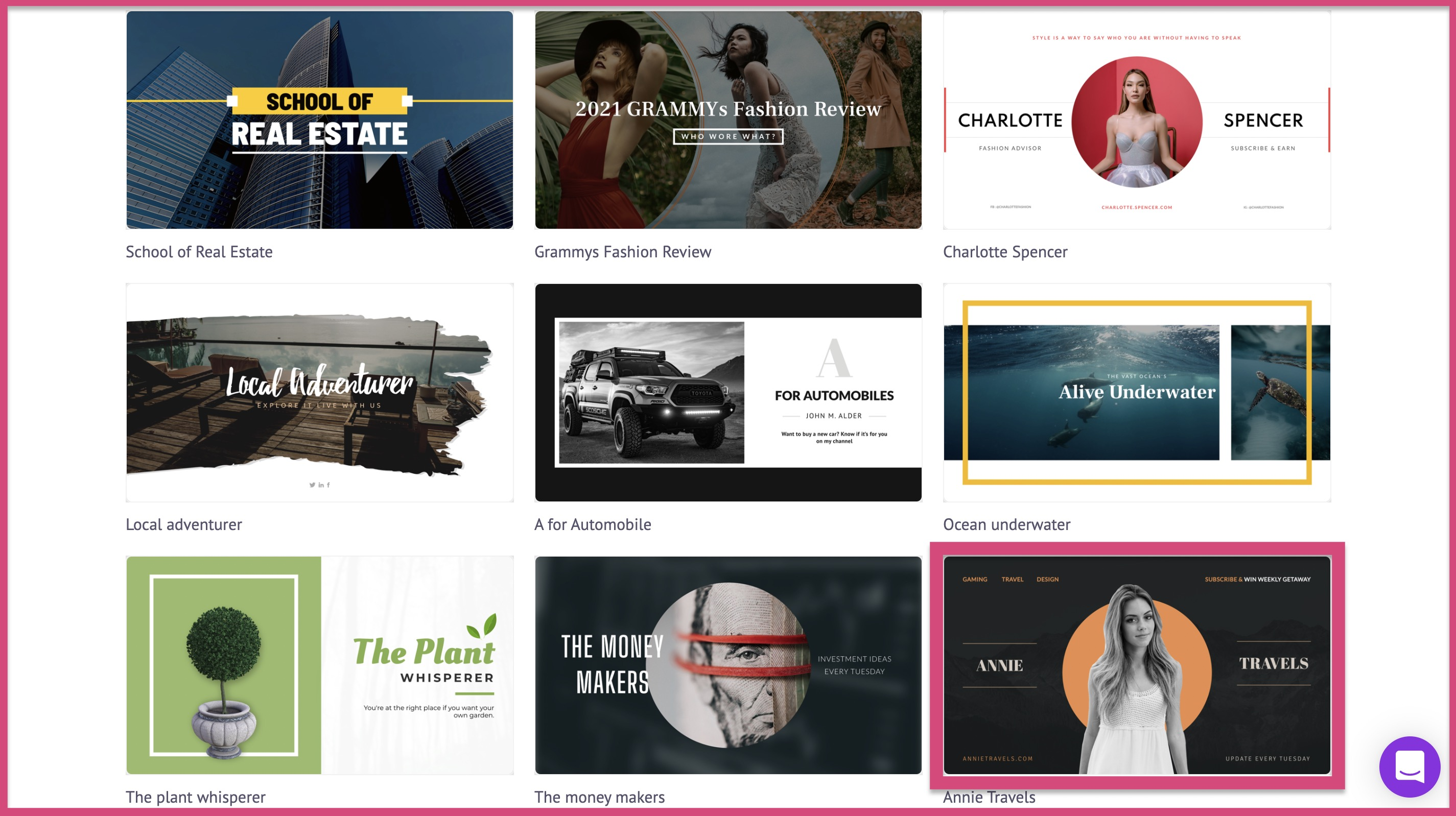let's select this 2560 x 1440 YouTube channel art template