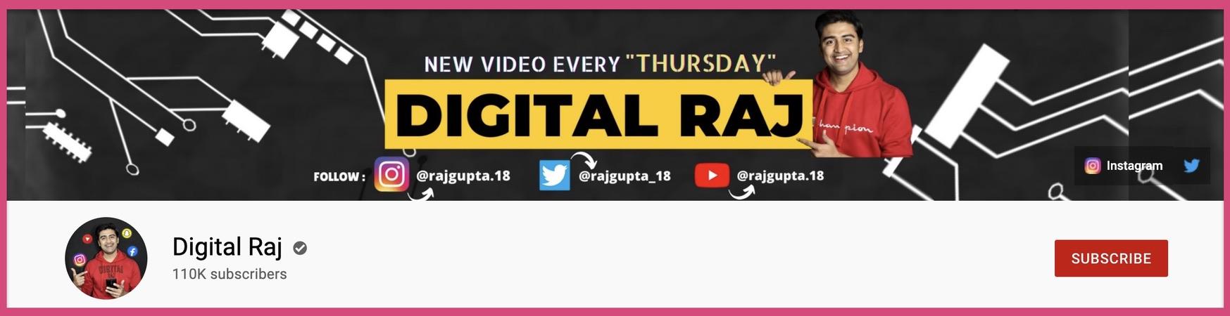 Digital Raj's 2560 x 1440 pixels YouTube banner