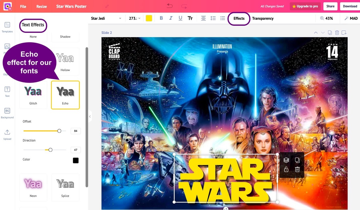 Star Wars poster with Darth Vader in the background. Echo effect on the Star Jedi font | Picmaker