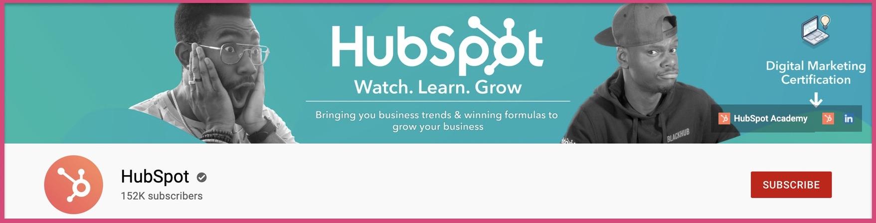 Hubspot's 2560 x 1440 YouTube banner