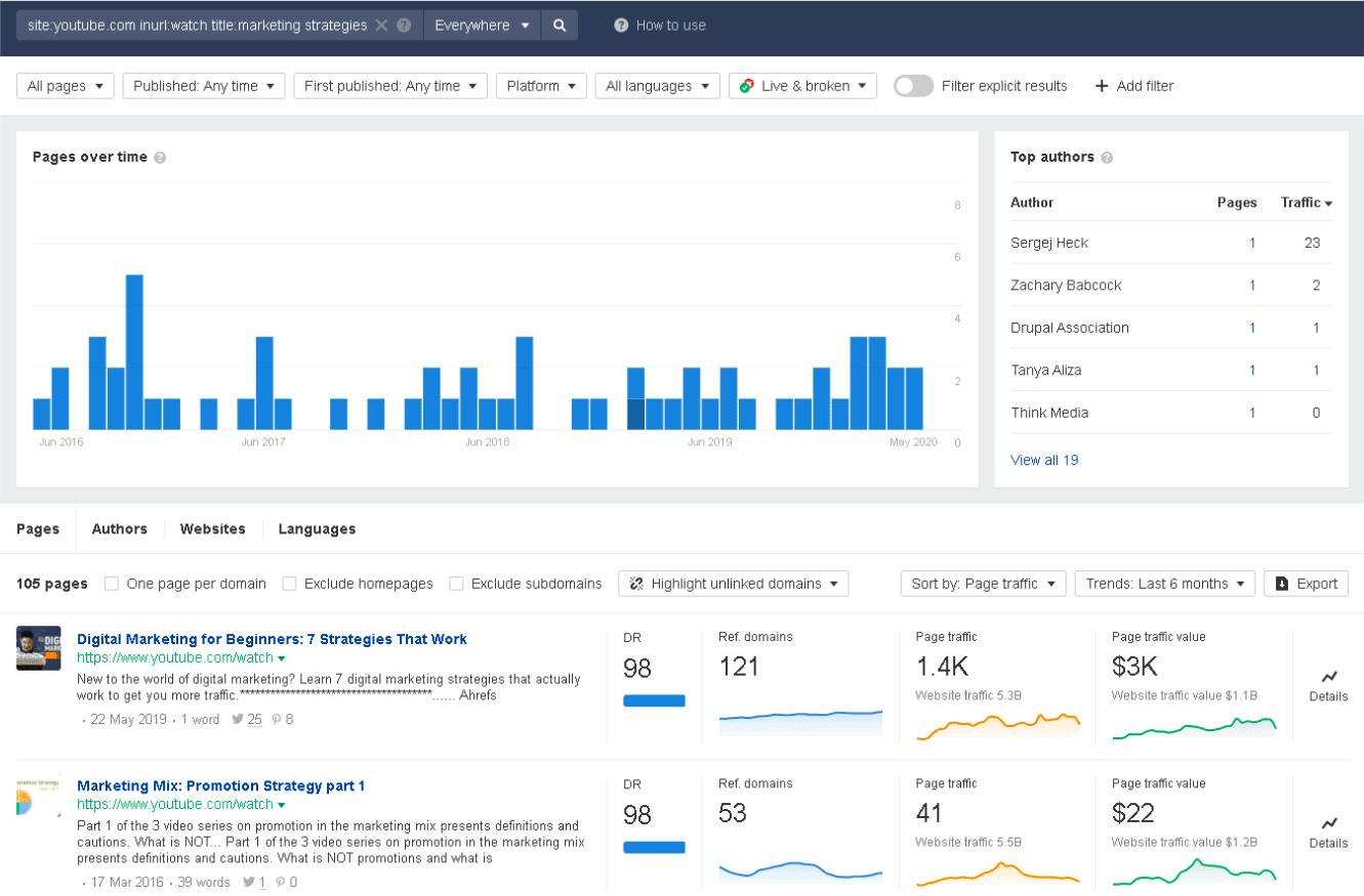 Ahrefs's Content Explorer Tool