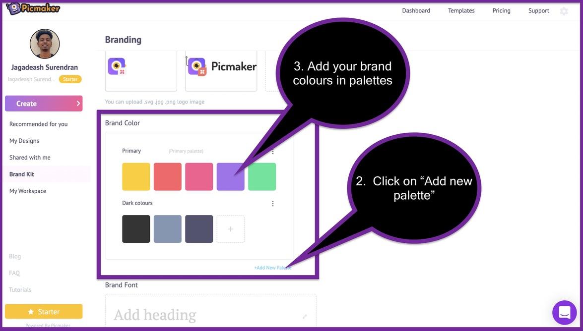 Screenshot of Picmaker's brand kit