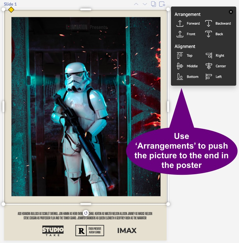 Arranging the stormtrooper's picture in a Star Wars poster.