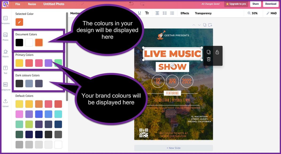 Screenshot of Picmaker's design canvas