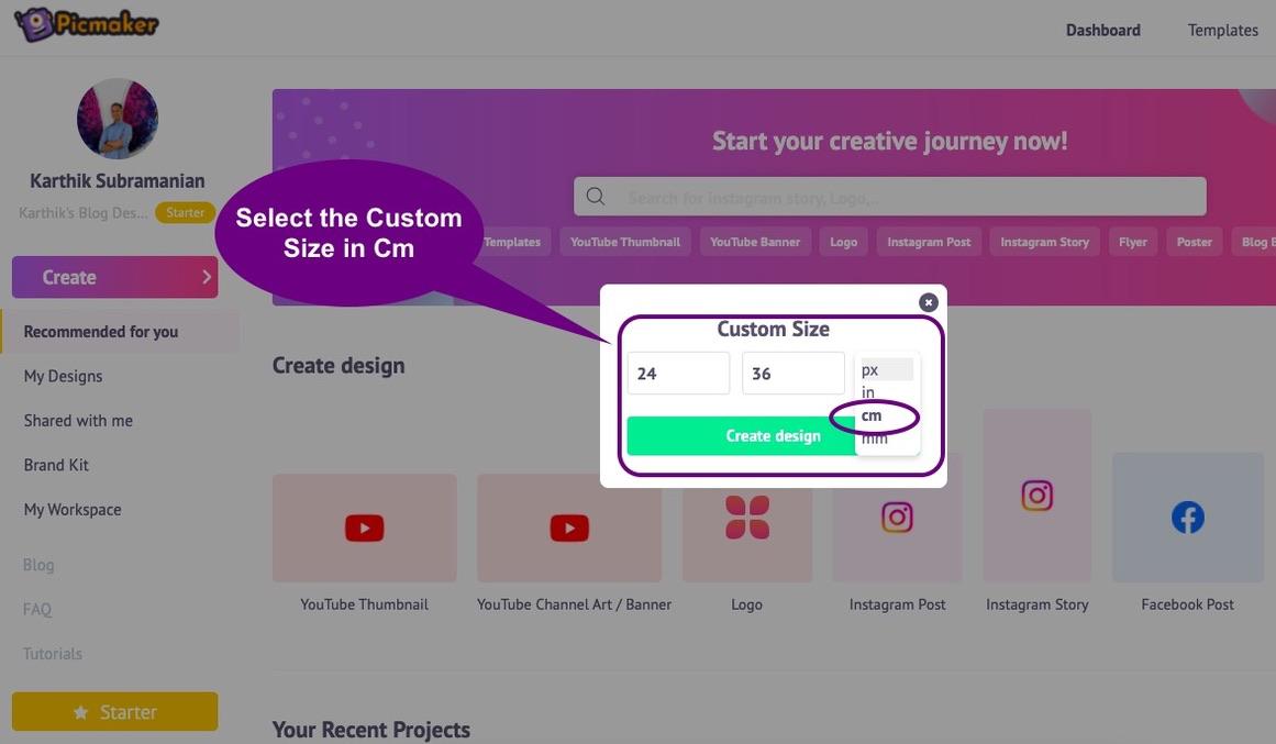 Choosing a custom design in Picmaker