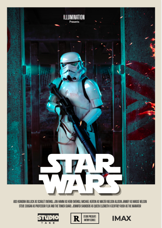 The final Star Wars poster designed using Picmaker