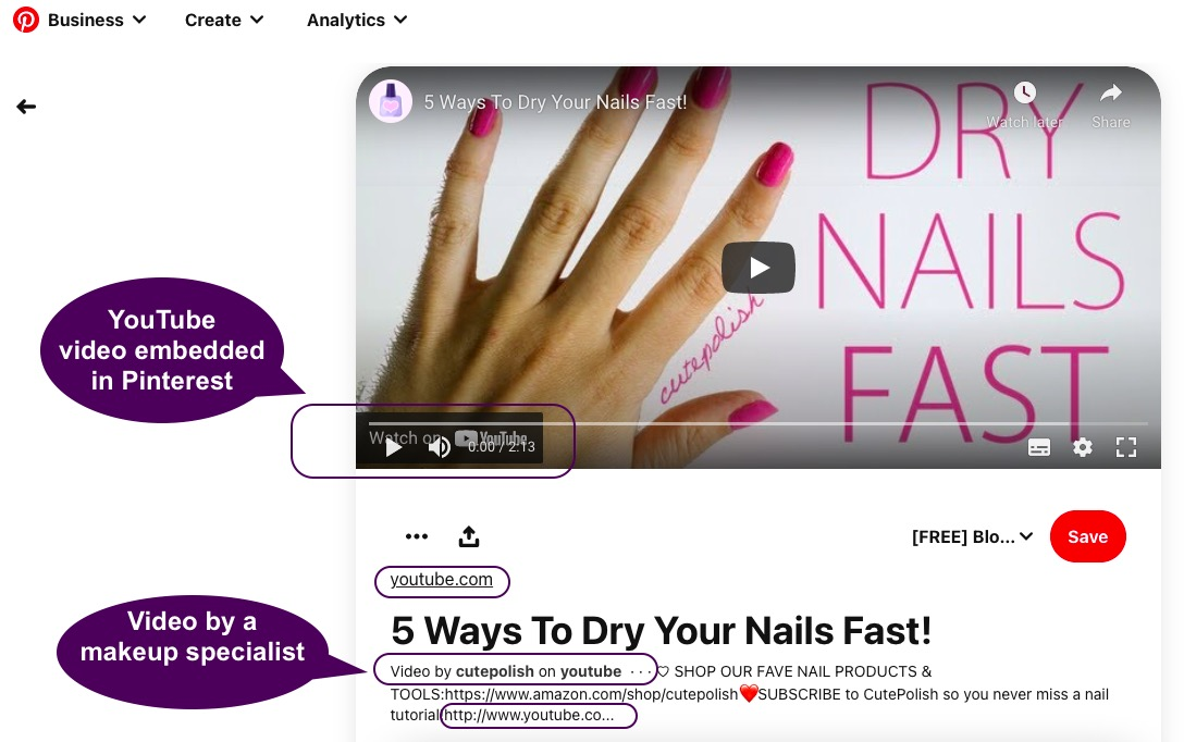 Embed your YouTube videos in Pinterest