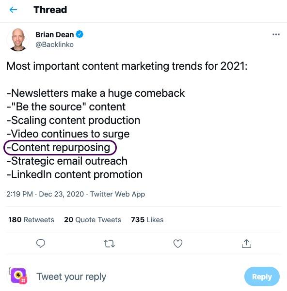 Brian Dean lists 'Content Repurposing' as a key item in his 2021 checklist