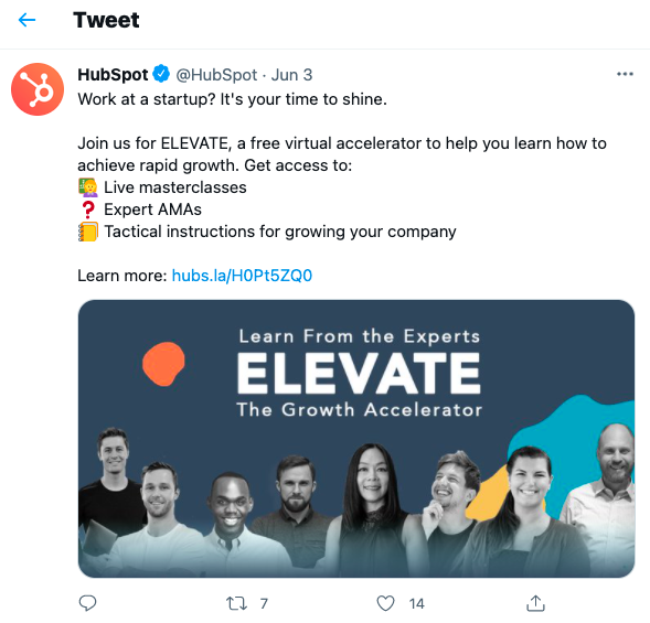 HubSpot's tweet about their Growth Accelerator program is self-explanatory