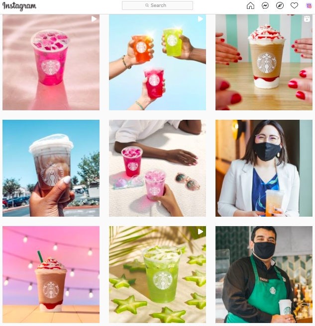 Starbucks uses its cups to create visual appeal for their drinks