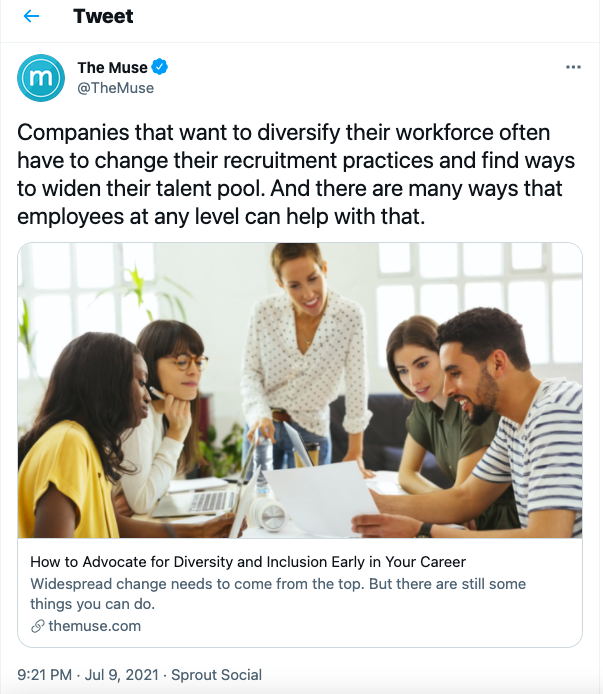The Muse uses examples of multiple team members to appeal to their target audience of job seekers